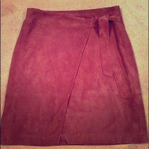 Dresses & Skirts - Parisian Sèzane Soft Lambskin Suede Wrap Skirt
